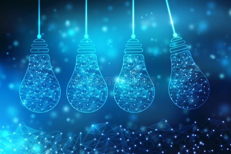 Tecnología futura del bulbo, fondo de la innovación, concepto creativo de la idea ilustración del vector