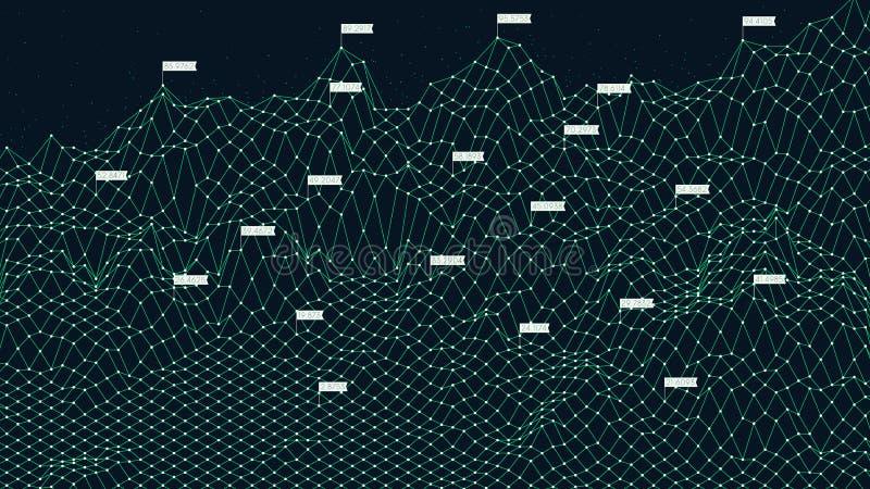 Tecnología futurista de la rejilla del ciberespacio de Digitaces, montaña grande de los datos del wireframe del extracto stock de ilustración
