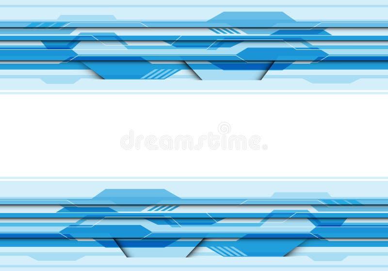 Tecnología futurista del circuito azul abstracto del polígono con el espacio en blanco de centro blanco para el vector creativo m libre illustration