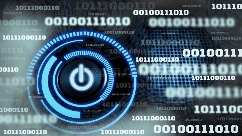 Tecnolog?a futurista del fondo del c?digo binario de los datos digitales de la innovaci?n, con el icono encendido-apagado del int stock de ilustración