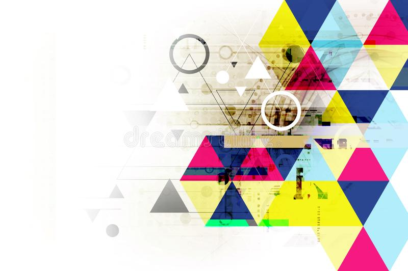 Tecnología geométrica del fondo del extracto, efecto de la textura del grunge stock de ilustración