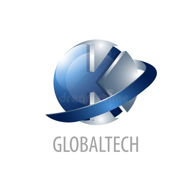 Tecnología global Diseño de concepto del logotipo de la letra inicial K estilo tridimensional de la esfera 3D Elemento gráfico de libre illustration