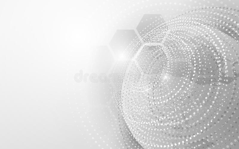 Tecnología grande de la conexión de red de datos con global Partícula abstracta y fondo geométrico del concepto de la tecnología libre illustration
