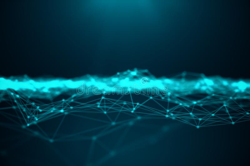Tecnología grande de la transferencia del extracto Paisaje de Digitaces con la conexión global, puntos polivinílicos bajos y líne ilustración del vector