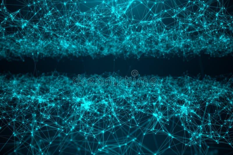 Tecnología grande de la transferencia del extracto Paisaje de Digitaces con la conexión global, puntos polivinílicos bajos y líne stock de ilustración