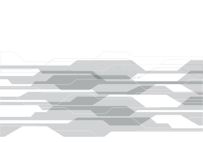 Tecnología gris abstracta del polígono en vector futurista moderno del fondo del diseño blanco stock de ilustración