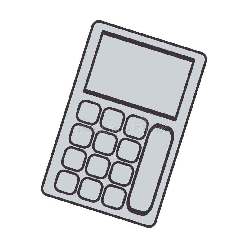 Tecnología gris de la silueta con el bolsillo solar de la calculadora stock de ilustración