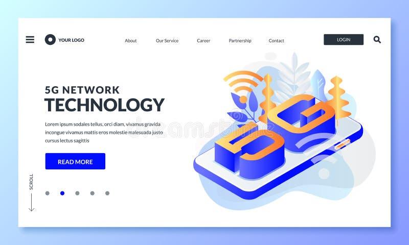 tecnología inalámbrica de Internet de la red 5G Página de aterrizaje moderna, disposición de diseño de la bandera de la web Ejemp libre illustration