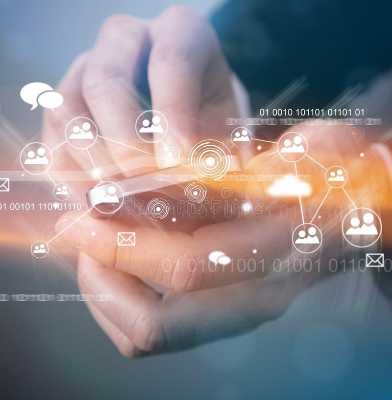 Tecnología inalámbrica moderna y medios sociales imagenes de archivo
