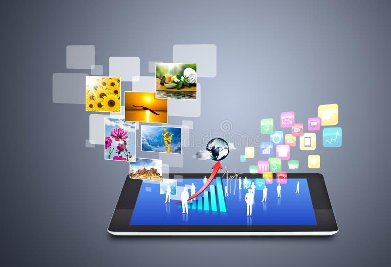 Tecnología inalámbrica moderna y medios sociales ilustración del vector