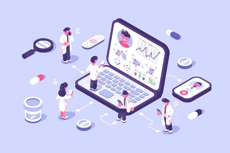 Tecnología innovadora de la diagnosis en línea stock de ilustración