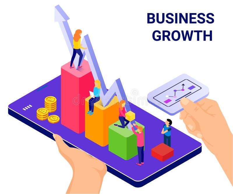 Tecnología isométrica del concepto de las ilustraciones que ayuda a los negocios para crecer ilustración del vector