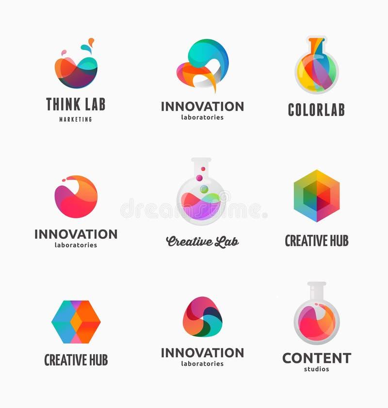 Tecnología, laboratorio, innovación de la creatividad e iconos abstractos de la ciencia stock de ilustración