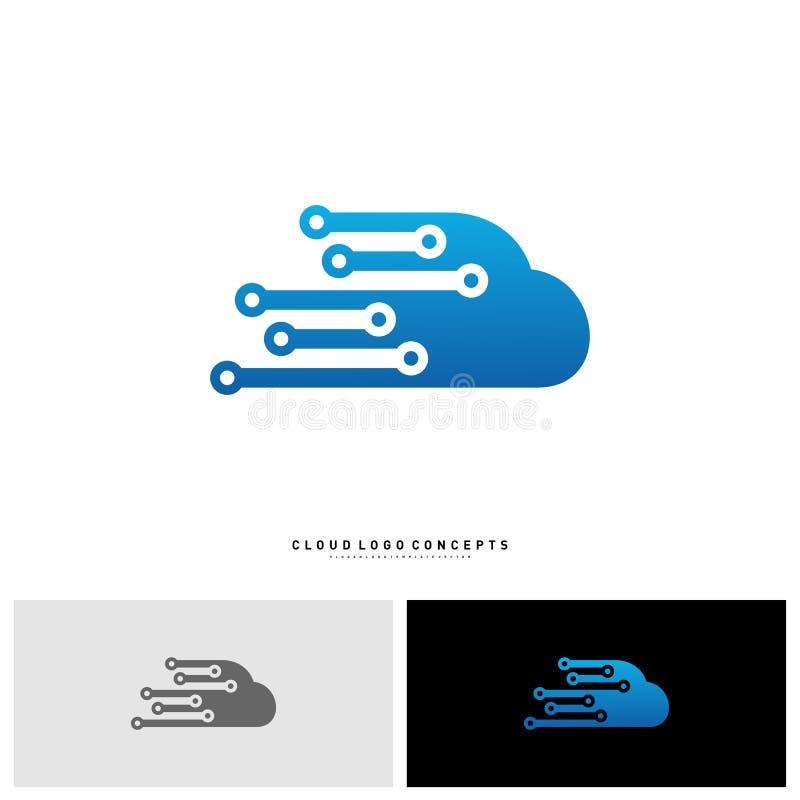 Tecnología Logo Design Concept Vector de la nube Nube Logo Template Vector de la tecnología stock de ilustración