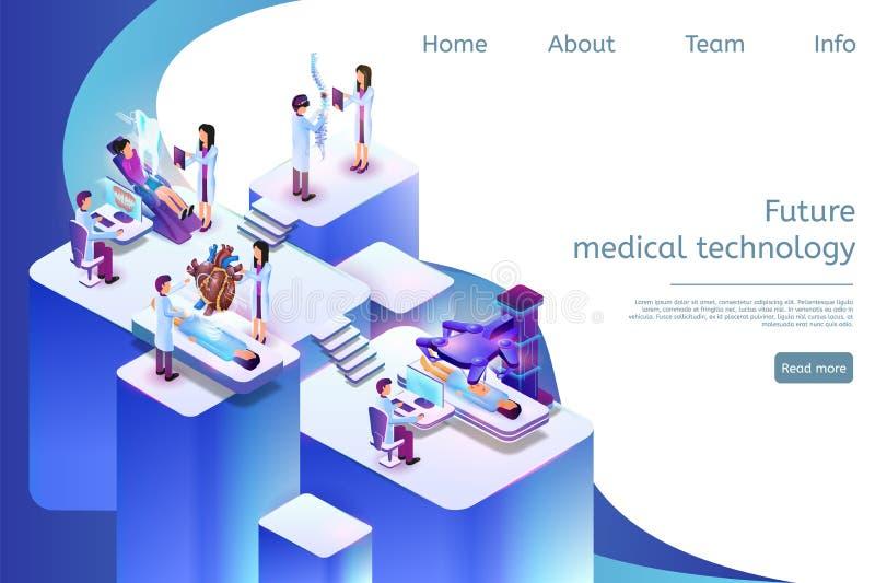 Tecnología médica futura de la bandera isométrica en 3d ilustración del vector