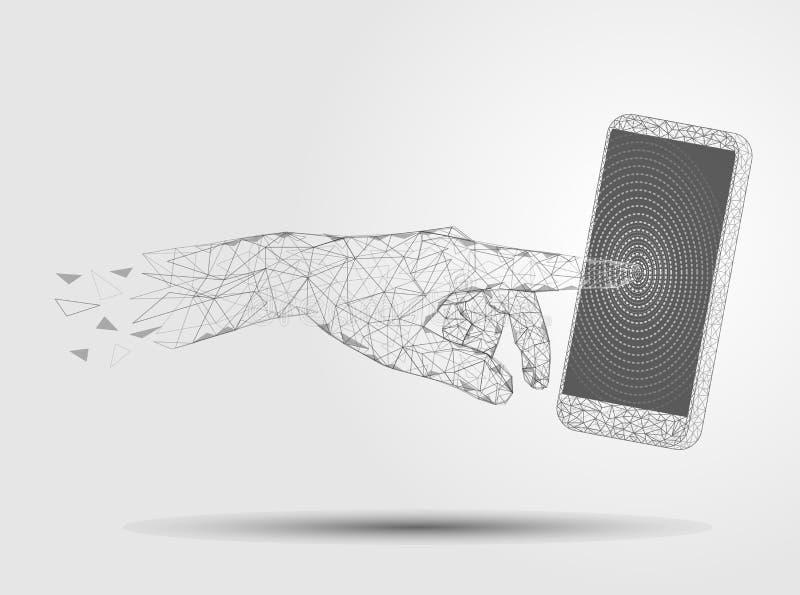 Tecnología móvil, ejemplo poligonal del estilo del arte del vector libre illustration