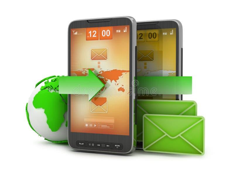 Tecnología móvil - email en el teléfono celular ilustración del vector