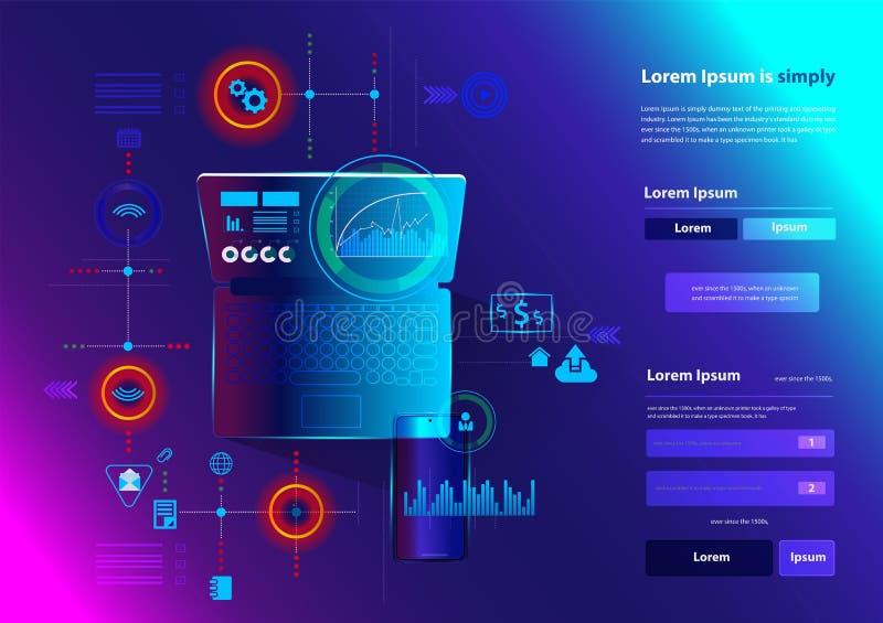 Tecnología moderna de la innovación del ordenador portátil del establecimiento de una red del vector stock de ilustración