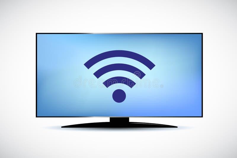 Tecnología moderna de la TV del wifi elegante del icono libre illustration