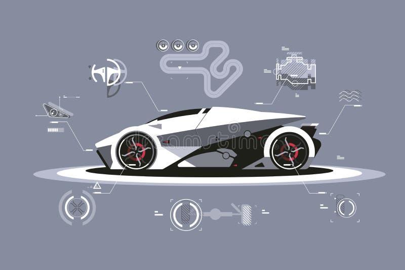 Tecnología moderna del coche ilustración del vector