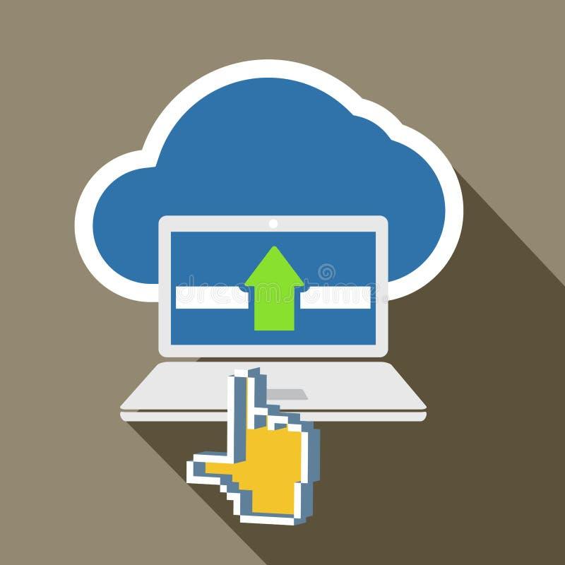 Tecnología moderna del ordenador portátil y de la nube ilustración del vector
