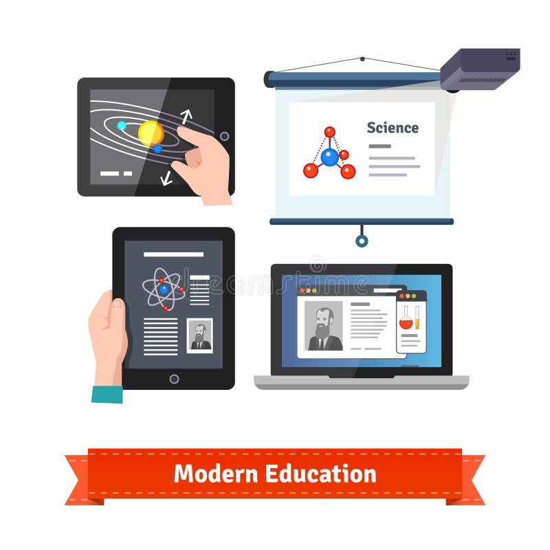 Tecnología moderna en sistema plano del icono de la educación ilustración del vector