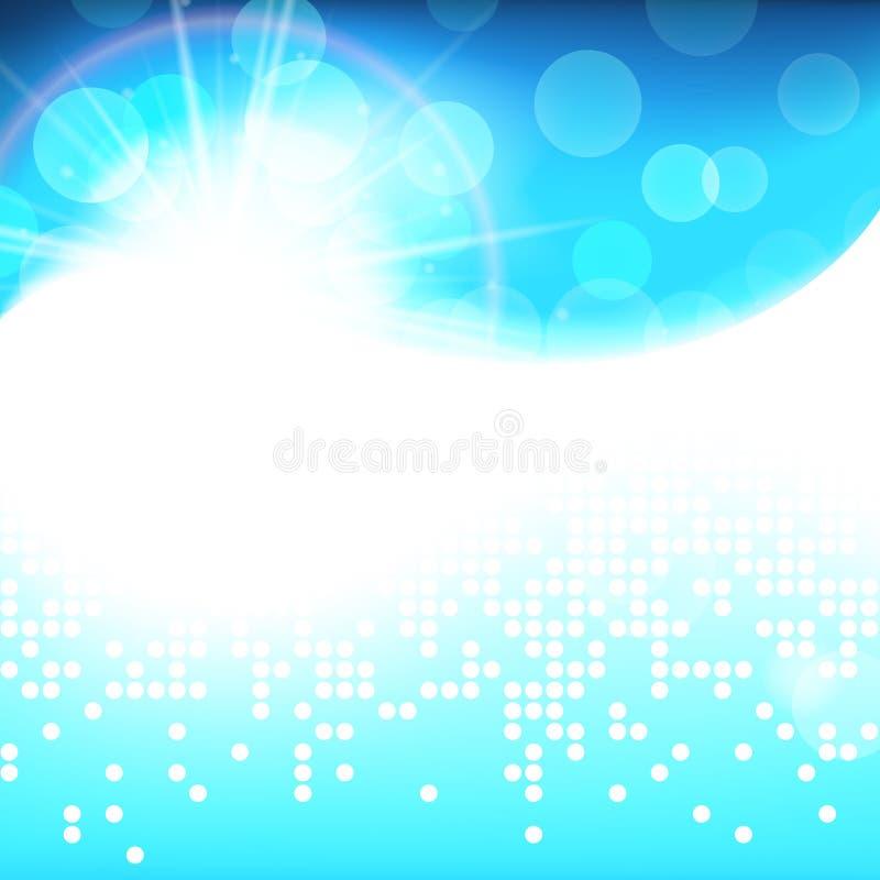 Tecnología natural pura del fondo azul brillante soleado del vector, ejemplo abstracto del invierno ilustración del vector