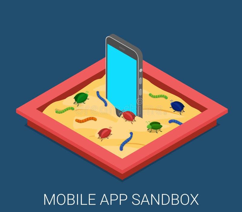 Tecnología plana del vector de la aplicación de software malévola móvil stock de ilustración