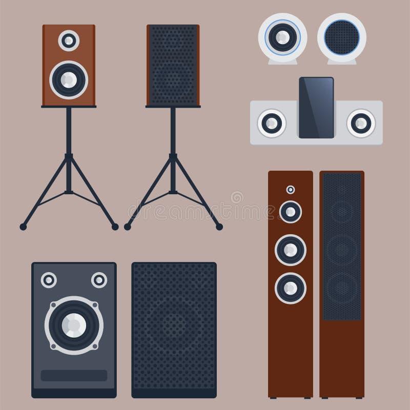 Tecnología plana estérea del equipo del subwoofer del jugador de los altavoces de la música del vector del sistema de sonido case stock de ilustración