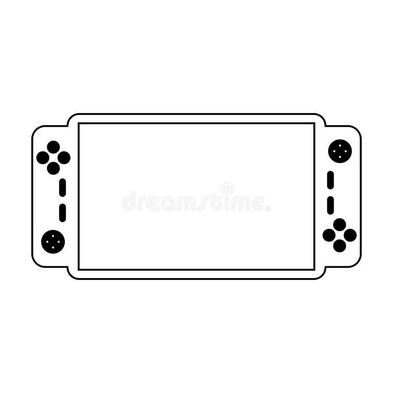 Tecnología portátil de la consola del videojuego blanco y negro ilustración del vector