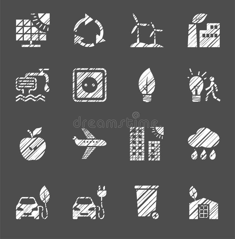 Tecnología respetuosa del medio ambiente, iconos, monocromo, blanco, plano, lápiz que trama, sistema, vector stock de ilustración
