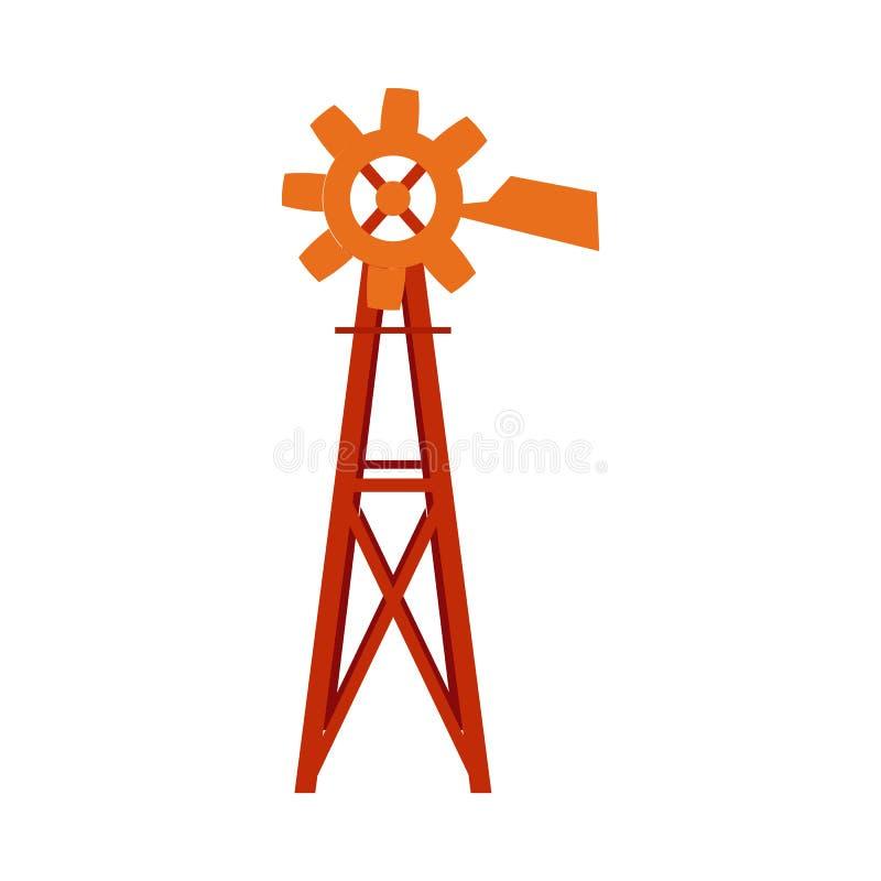 Tecnología tradicional de la turbina del molino de viento de la granja aislada en el fondo blanco libre illustration