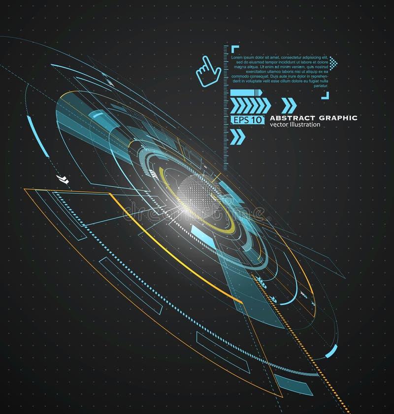 Tecnología tridimensional del interfaz, el futuro de la experiencia del usuario stock de ilustración