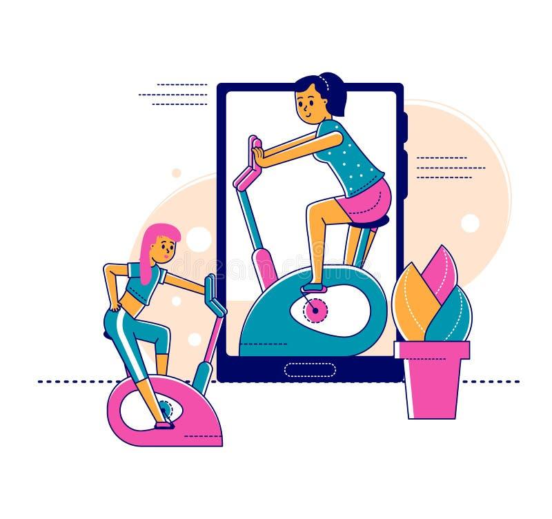 Tecnología web de autoaislamiento en línea para entrenadores deportivos y autoaislamiento y ilustración de vectores de concepto p fotografía de archivo libre de regalías