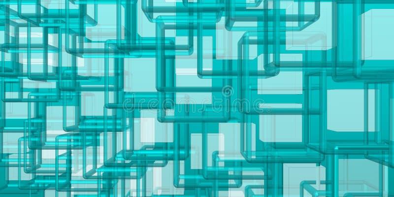 Tecnología y composición del futurista con la estructura azulada stock de ilustración