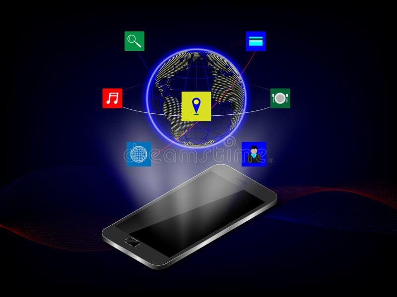 Tecnología y comunicación elegantes, concepto Backg del holograma del teléfono imagen de archivo