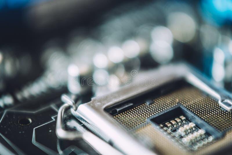Tecnología y concepto electrónico del hardware Foto macra de la placa de circuito impresa fotos de archivo