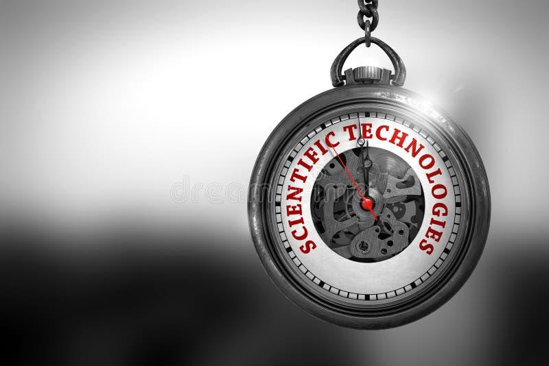 Tecnologías científicas en cara del reloj ilustración 3D fotos de archivo
