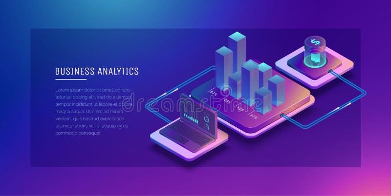 Tecnologías de Digitaces en negocio Análisis de sistema de Digitaces del negocio Gráfico del crecimiento del negocio Cartera en l ilustración del vector