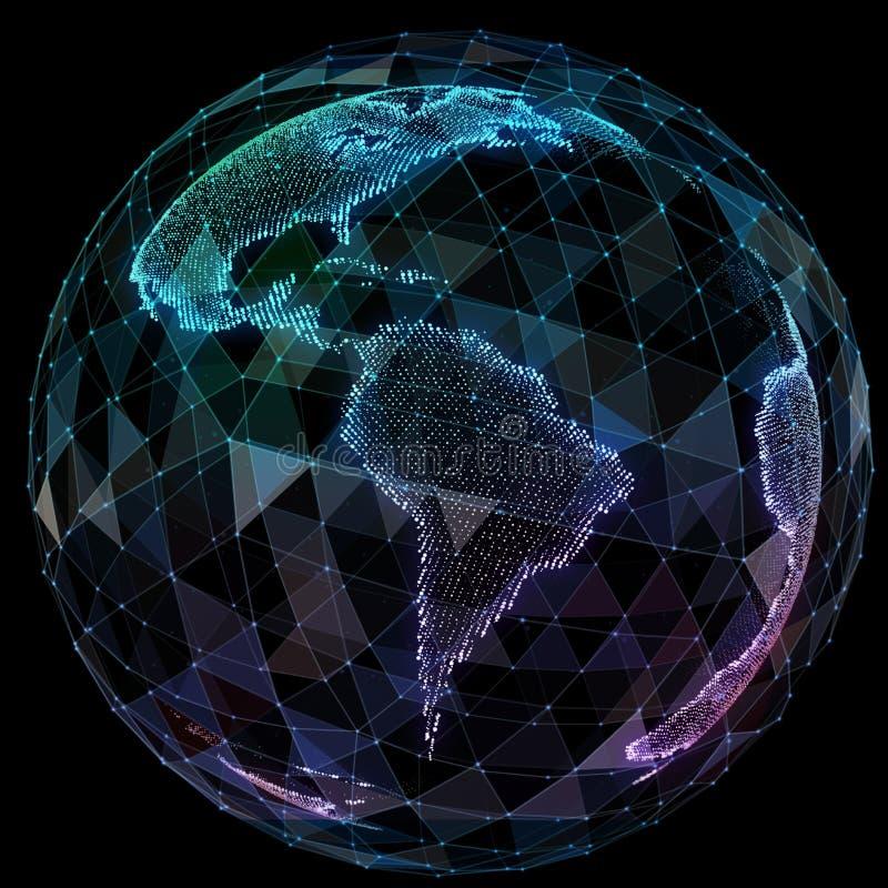 Tecnologías de Internet de la red global Mapa del mundo de Digitaces stock de ilustración