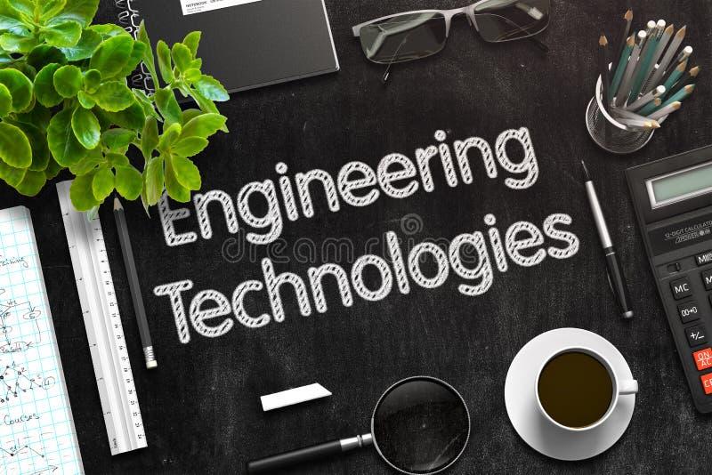 Tecnologías de la ingeniería en la pizarra negra representación 3d fotografía de archivo