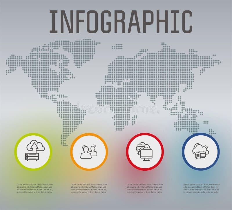 Tecnologías de la nube de Infographics ilustración del vector