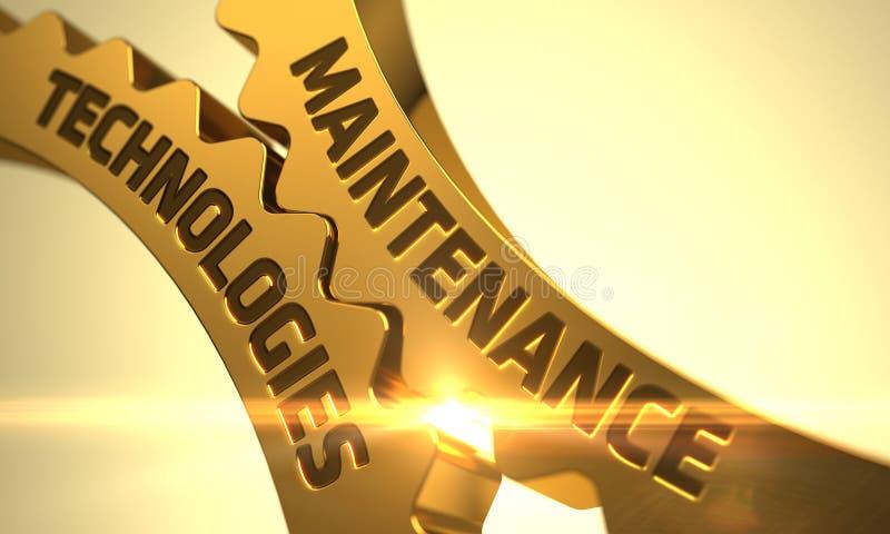 Tecnologías del mantenimiento en los engranajes de oro 3d imagen de archivo libre de regalías