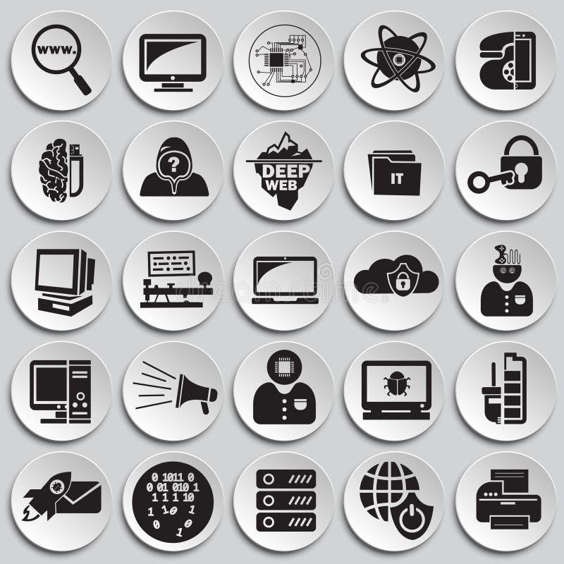 Tecnologías del ordenador y de Internet fijadas en fondo de las placas libre illustration