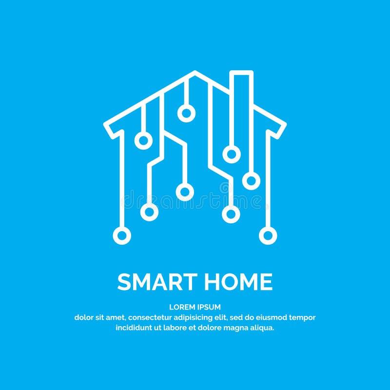 Tecnologías digitales caseras elegantes del icono y del emblema libre illustration