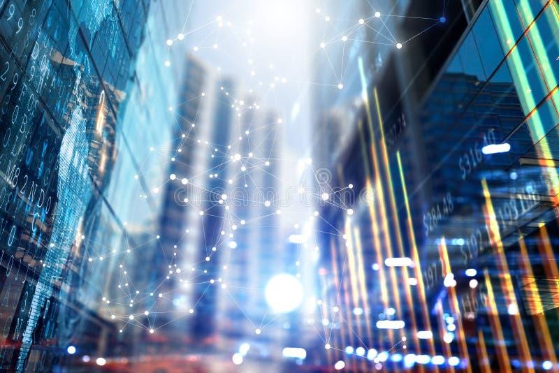 Tecnologías inalámbricas y ciudad del negocio Técnicas mixtas imagen de archivo libre de regalías