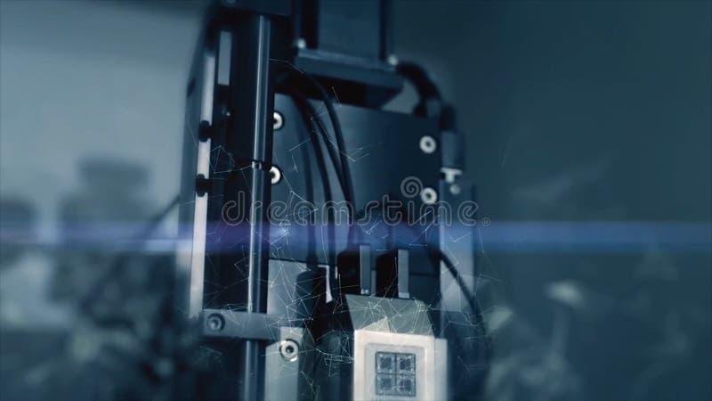 Tecnologías innovadoras en ciencia y medicina Microscopio de alta tecnología Técnicas mixtas Dispositivos ópticos microscopio de  foto de archivo