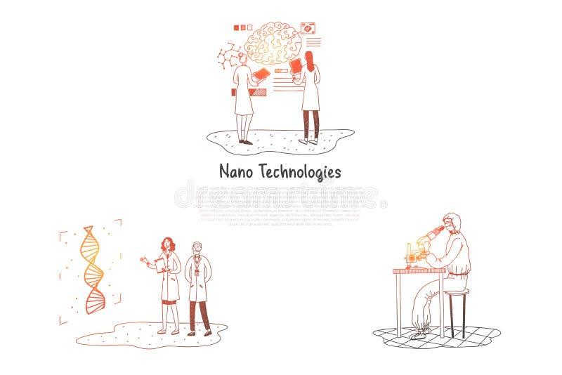 Tecnologías nanas - científicos que hacen la investigación en sistema del concepto del vector de los laboratorios ilustración del vector