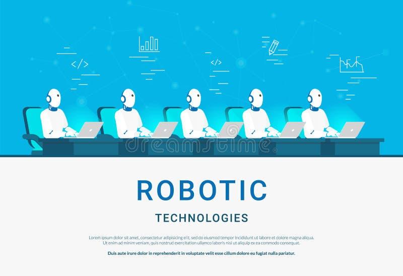 Tecnologías robóticas para el aprendizaje en línea de la ayuda y de máquina ilustración del vector