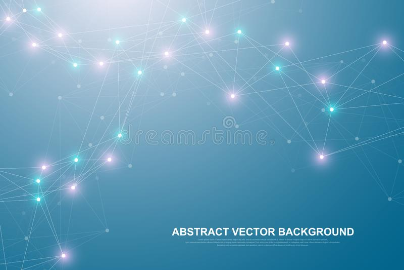 Tecnolog?a abstracta futurista del blockchain del fondo Conexi?n de Internet global Par a mirar negocio de la red ilustración del vector